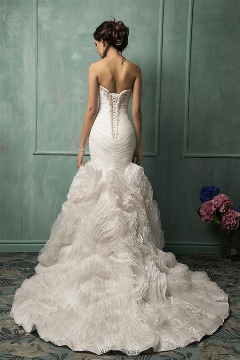 2017 mermaid wedding dresses ruched bodice with ruffles