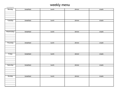 printable weekly menu planner with snacks 7 best images of blank meal planner sheet printable free