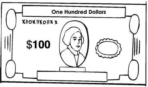 100 dollar bill coloring sheet coloring pages