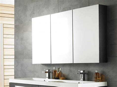 Cool bathroom mirror cabinets with three panels storage over contemporary vanity units using duo