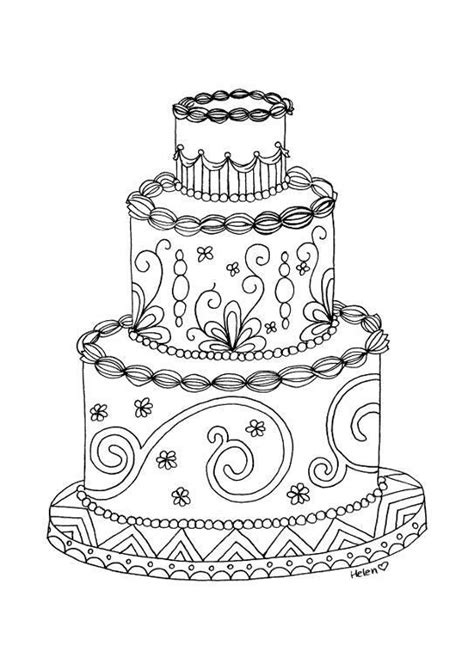 paper crafts wedding cake adult coloring page