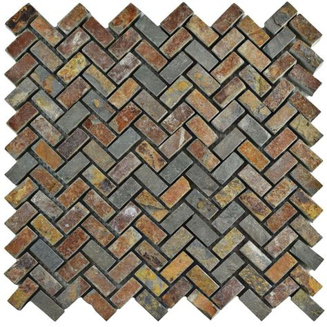 Home Depot Backsplash Kitchen merola tile crag herringbone sunset slate 12 in x 12 in