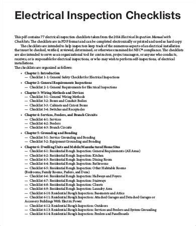 inspection checklist template 11 free word pdf