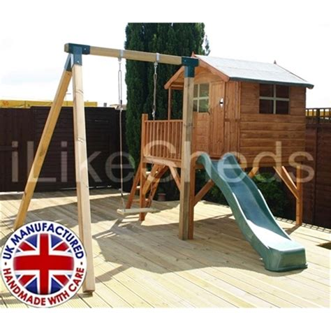 wooden playhouse with swing and slide 5 x 7 wooden tower playhouse with slide and swing