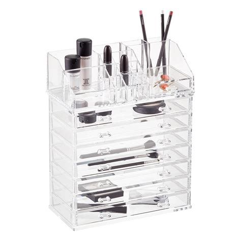 Acrylic Makeup Organizer acrylic makeup organizer with drawer the container store