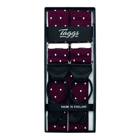 Ready Stock New Arrival Eliza Polcadot Luxury luxury polka dot jacquard braces leather ends wine white
