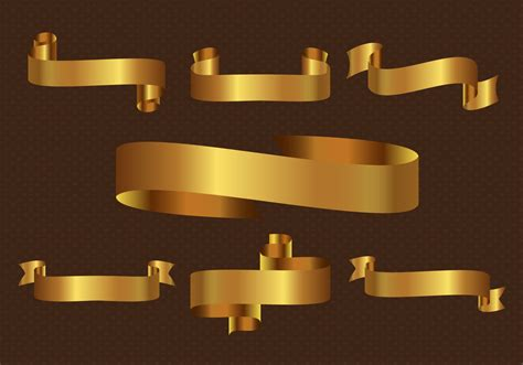 Flat Gold Ribbon free gold ribbon vector free vector stock