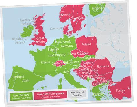 using maps in europe european currencies interrail eu