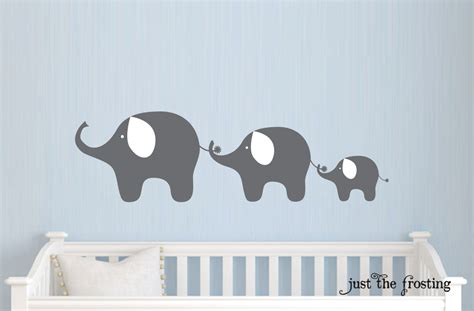 Family Elephant Decal Nursery Elephant Wall Decal Baby Boy Elephant Nursery Wall Decal