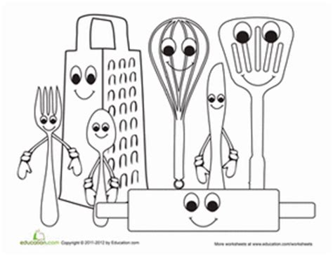 coloring pages for kitchen utensils kitchen utensils worksheet education com
