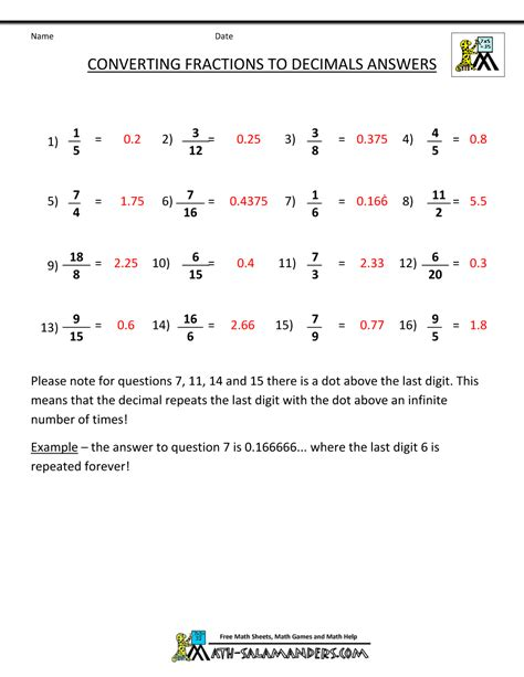 Convert Decimals To Fractions Worksheet by Convert Fractions To Decimal