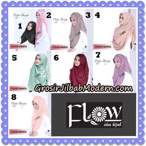 Instant 2 By Flow jilbab instant 2 faces dravia poppy bunga original by flow