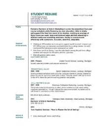 sle of high school student resume student resume templates student resume template easyjob