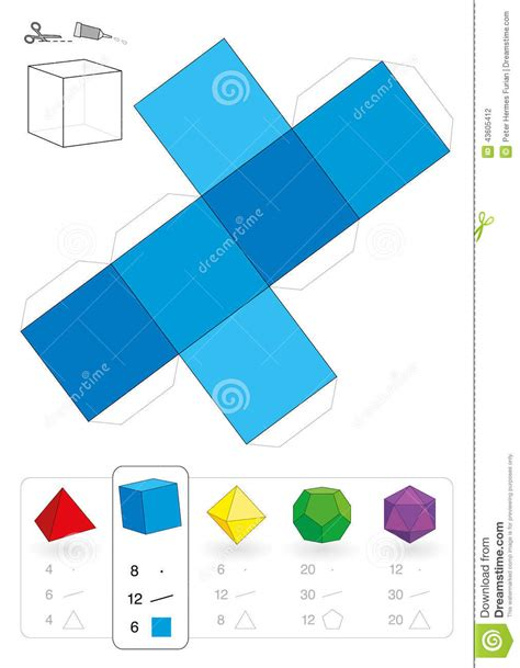 How To Make A 3 Dimensional Cube Out Of Paper - paper model hexahedron stock illustration image 43605412