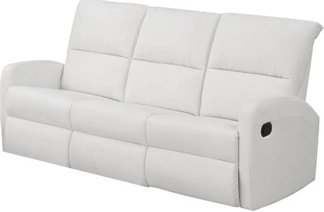 White Leather Reclining Sofa 84wh 3 White Bonded Leather Reclining Sofa 84wh 3 Monarch