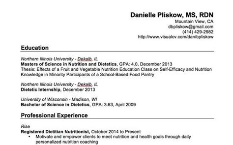 Career Objective For Dietitian Resume by Clinical Dietitian Resume Resume Ideas