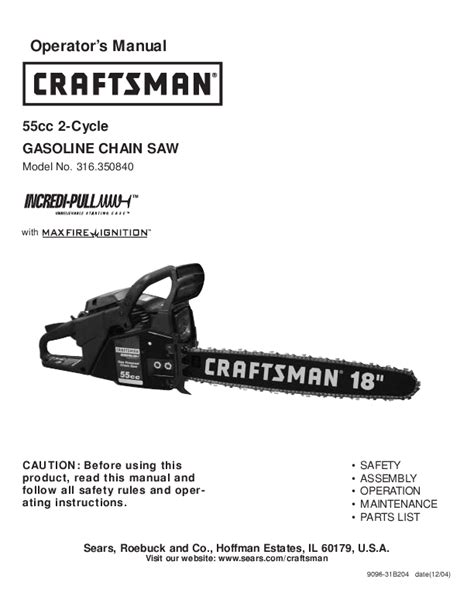 Sears Chainsaw 316 35084 User S Guide Manualsonline Com