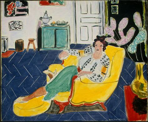 woman in an armchair are you sitting comfortably head for art