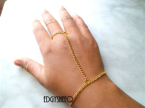 gold chain attached ring to bracelet simple to