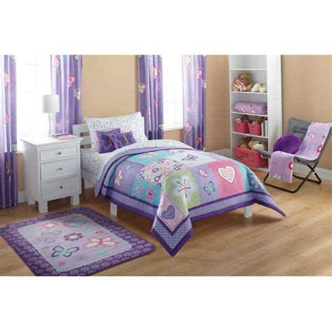 walmart bedding twin mainstays kids comforter butterfly patches walmart com
