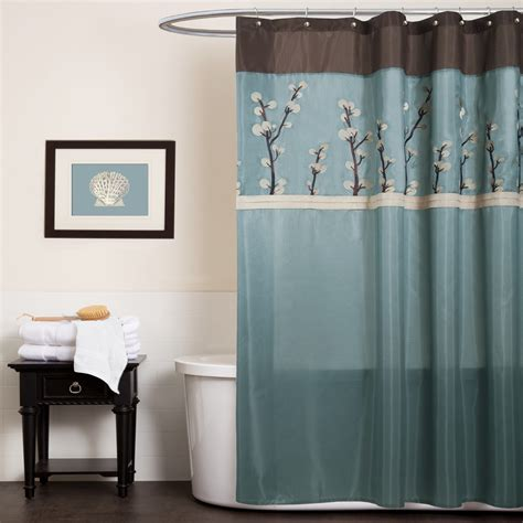 Blue Bathroom Shower Curtains Blue And Brown Curtains Home Decorating Ideas