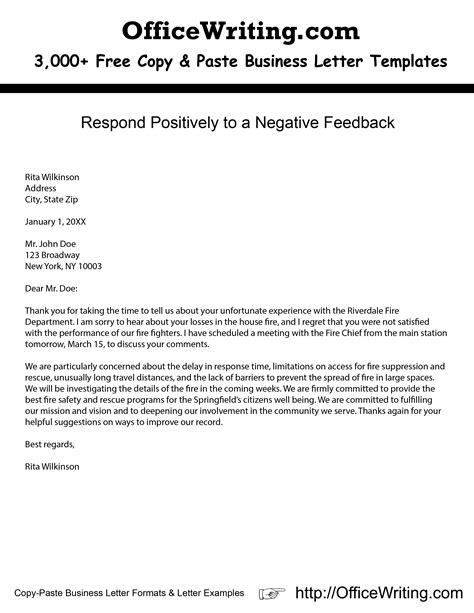 thank you letter to for positive feedback respond positively to a negative feedback check our