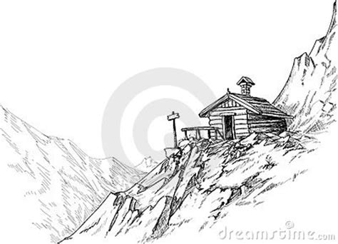 mountain hut sketch stock images image