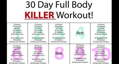 30 day killer workout home healthy habits
