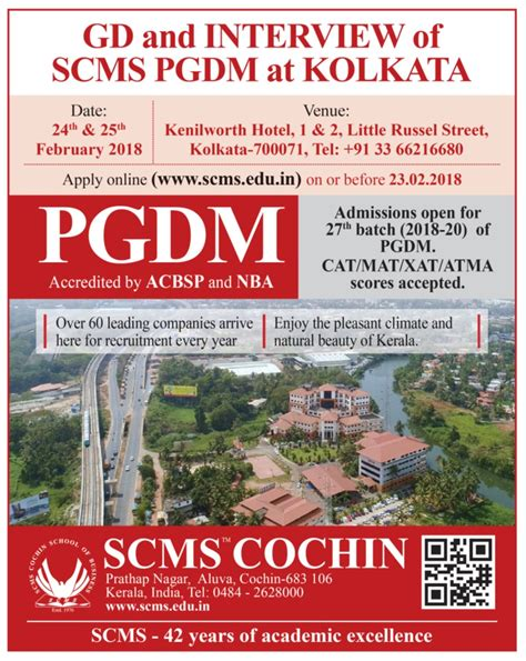 Scms Cochin Mba Admission 2016 by Scms Cochin School Of Business