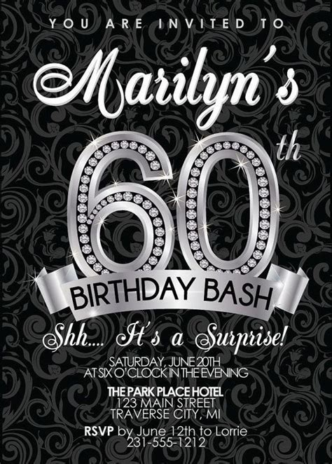 60th Birthday Invitation   Adult Birthday Party Invitation