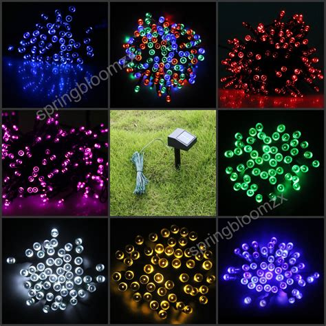 outdoor solar panel powered 9 colors 12m light 100 led