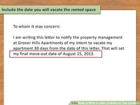 Letter Of Intent To Relocate Exle How To Write A Letter Of Notice To Your Landlord 14 Steps