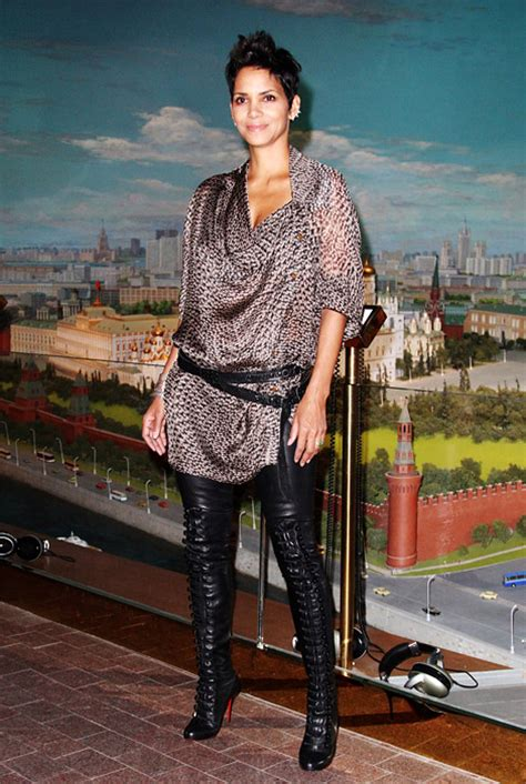 Halle Berry Gets On Knees For A by In Boots Halle Berry In Christian Louboutin