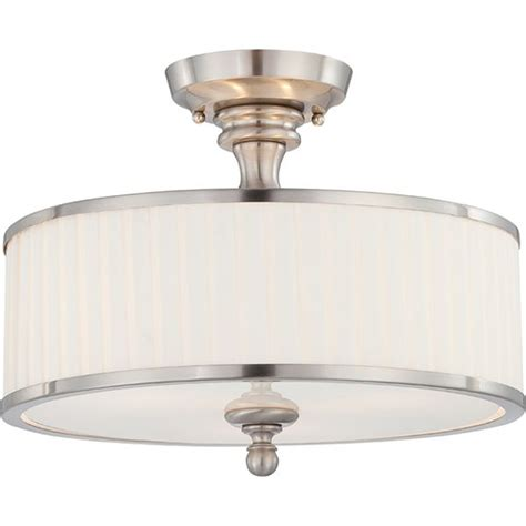 Semi Flush Light Fixture Nuvo Lighting Candice Brushed Nickel Three Light Semi Flush Fixture W Pleated White Shade On Sale