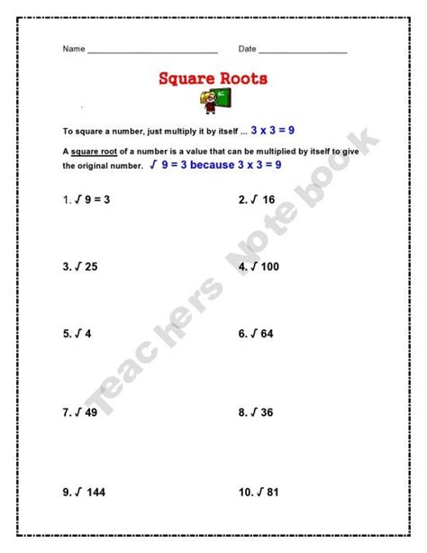 Math Worksheets Square Roots by Square Roots Worksheet