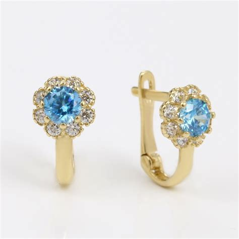Chil Kid Gold klenota gold earrings with cubic zirconia for