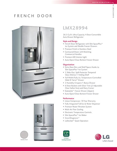 Download Free Pdf For Lg Lmx28994st Refrigerator Manual