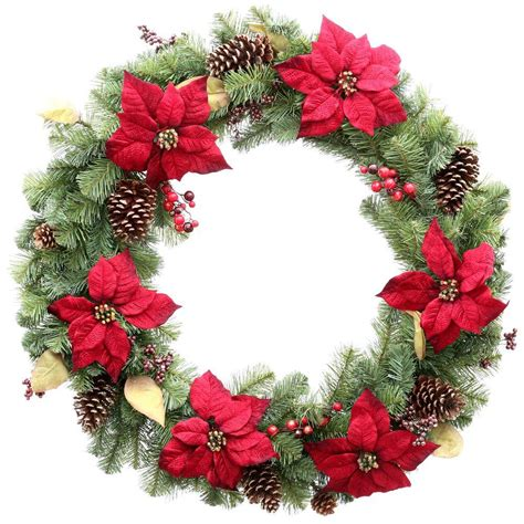 holiday wreath home accents holiday 36 in unlit burgundy poinsettia