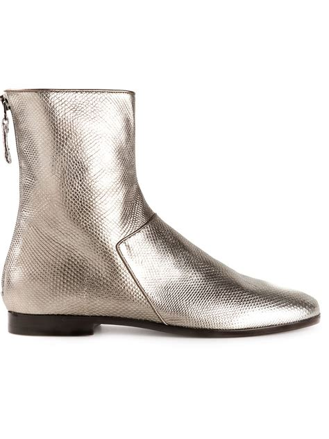 carritz metallic leather ankle boots in silver metallic