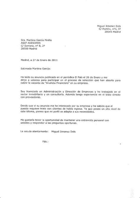 Employment Letter Que Es Carta De Presentaci 243 N Andalucia Orienta
