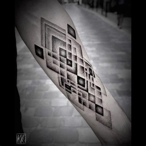 rhombus pattern tattoo dark and grey rhombus arm dotwork tattoo best tattoo