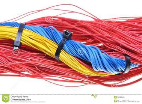 and white electrical wires electrical wires with cable ties royalty free stock photo