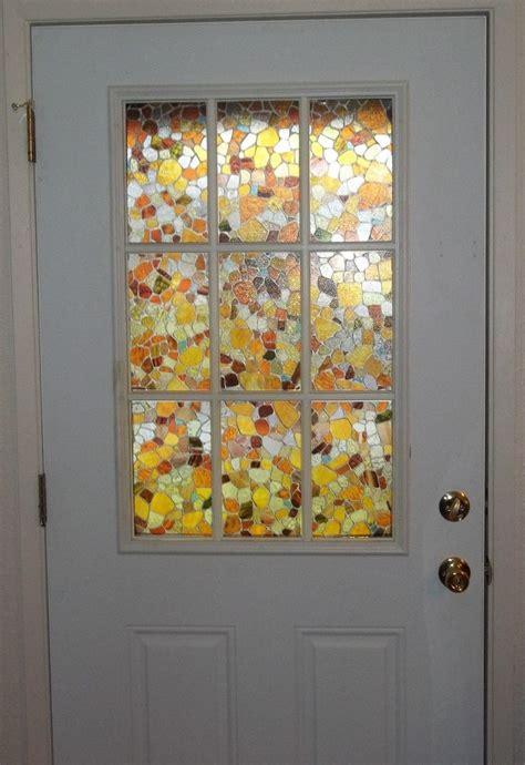 fake stained glass panels   front door light effects