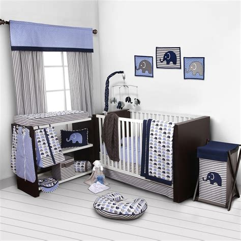 bacati crib bedding bacati elephants blue grey 10 pc crib set without bumper pad