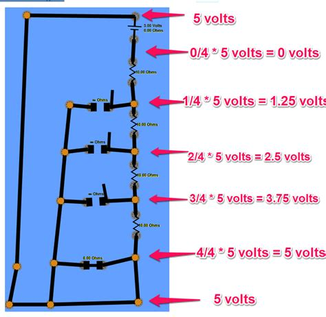 resistor ladder diagram arduino voltage ladder and analog input pins electrical engineering stack exchange