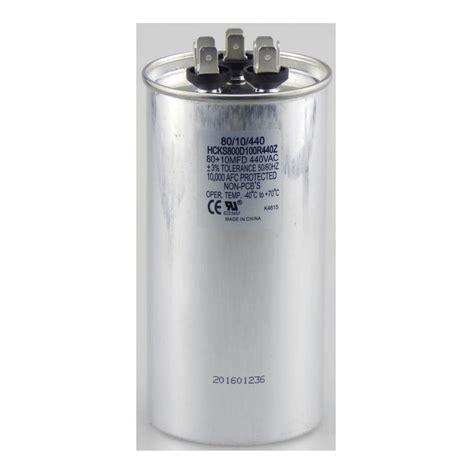 motor run capacitor 80 mfd tradepro 440 volt 80 10 mfd dual motor run capacitor tpr8010440 the home depot