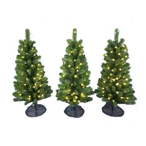 tree pathway lights 3 ft pre lit led colorado spruce artificial pathway trees