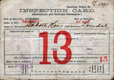 identification card ellis island template immigrant inspection card rms germanic gg archives