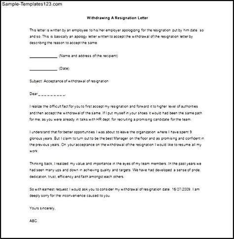 Format Letter Of Withdrawal resignation letter top 20 sle of resignation letter