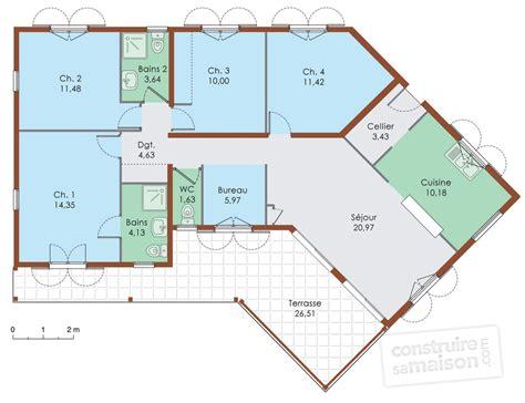 Maison En T Plain Pied by Plan De Maison 5 Chambres Plain Pied